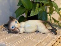 "Vintage 10"" Midcentury Ceramic Siamese Cat Figurine MCM Retro Blue Eyes Kitschy"