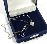 Vintage Necklace Sterling Silver 925 & Sparkly Cubic Zirconia Pendant Elegant
