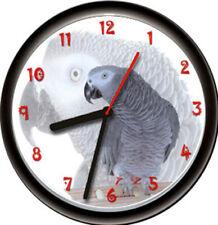 African Grey Gray Talking Exotic Pet Parrot Bird Aviary Gift Sign Wall Clock