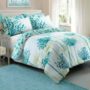Meadow Teal Soft Single Duvet Cover Set With Pillowcase