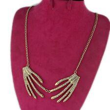 N880 Betsey Johnson Gold Skull Angel Hand Dangling Bone Halloween Necklace US
