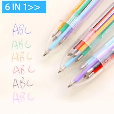 6 In 1 Plastic Multicolored Ballpoint Pen Push Type Pen Stationery School Office