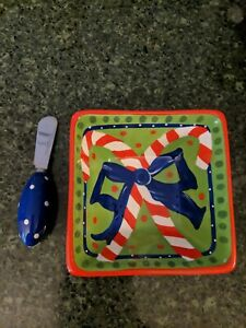 MSC Mainstreet Collection candy cane bow Serving Dip Dish and Spreader