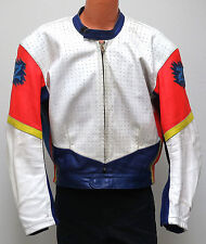 vtg Z CUSTOM LEATHERS WHITE PURPLE Motorcycle Jacket XL/2XL 80s/90s pads vented