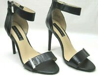 Steven Steve Madden Black High Heels Size 8M Leather Stilettos Open Toe Pumps