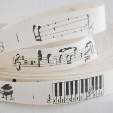 Cotton Fabric Ribbon Trim - Sewing Label - Music Stuff Piano Sewing Label Black