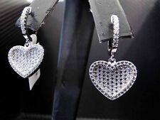 925 Sterling Silver Fancy C.Z Dangling Heart Earring C.Z Cubic Zirconia Womens
