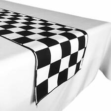 """Poly Cotton 2"""" Checkerboard Black and White Print Table Runner for NASCAR Party"""