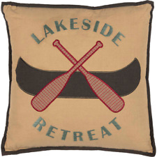 "New Primitive Rusty Cabin Cottage Lake House LAKESIDE RETREAT Canoe Pillow 18"""