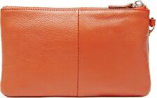 MightyPurse HButler Wristlet Genuine Leather handbag w/powerbank 4000mAh-ORANGE