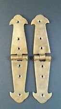 "Pair Brass Rustic Hinges Antique Vintage Style Door Trunk Box Lid 5 3/4"" #X1"
