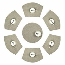 Placemats for Round Table,6pcs Wedge Kitchen Table Mats with 1PC Round Center
