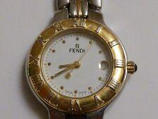 FENDI Two Toned Quartz Stainless Steel Women's Watch White Dial Vintage 900l