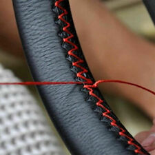 Car Steering Wheel Cover Black+Red Genuine Leather DIY With Needles and Thread