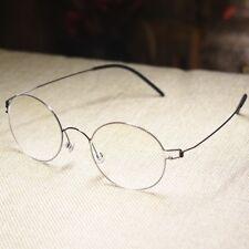 Men Retro round titanium eyeglasses frame Steve Jobs gray glasses RX clear lens
