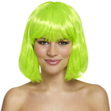 80's Neon Green Bob Wig For Festivals, Hen Parties, Fancy Dress, St Patrick Day