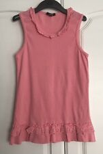 Girls Pink Vest Top Aged 11-12 Years With Ruffle And Embroidery Anglaise Detail