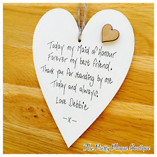 Personalised Wedding Favours Wooden Hearts Plaque Bridesmaids Maid of Honour Mum