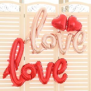 """Love"" Script Metallic Foil Balloon 100cm -Wedding Valentines Day Party Supplies"