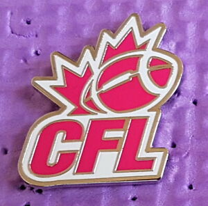 Pink CFL breast cancer logo football pin made by JFSC