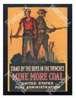 Historic WWI Recrutiment Poster Mine more coal Postcard