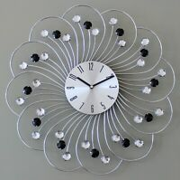 Large 45cm Clear Black Diamante Beaded Jewelled Silver Metal Wall Clock 154