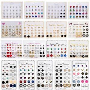 12/20Pair Wholesale Earrings Set Stud Crystal Rhinestone Pearl Jewelry Set Women