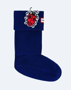 Hunter Original Kids Ladybird Lady bug Patch Boot Socks Blue NIB