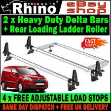 (LWB L2) 2x Rhino Delta Van Roof Rack Bars and Roller Citroen Berlingo 2008-2018