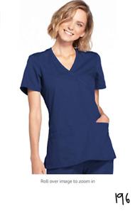 Cherokee Women's Workwear Core Stretch Mock Wrap Scrubs Shirt Navy Medium