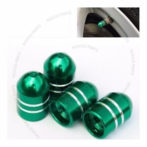 For Jaguar XJR XKR Vanden Plas Bullet Style Set of 4 Green Tire Valve Cap Dust
