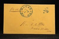 Maine: Rockland 1850s Stampless Cover VF Blue CDS, PAID 3 in Arc, DPO Lincoln Co