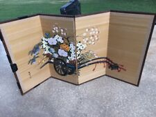 Japanese (Byobu) 4-Panel (Signed) Vintage Folding Screen Flower Cart Painting