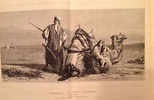Danger in the desert by Carl Haag 1871 large old Antique Print Arabs with Camel