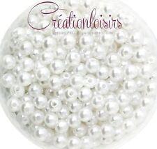 100 Perles ronde nacré acrylique blanc 6 mm