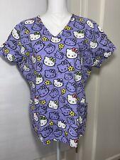 New listing Hello Kitty Sanrio Purple Lilac Women's Scrub Top Size Large V-Neck Vgc