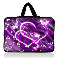 "Purple Double Heart Sleeve Case Neoprene HandleBag For 7"" Tablet Mid PDA Android"