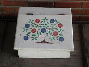 """Vtg Wooden Lap Desk-White & Hand-Painted Folk Art Designs-14 3/4"""" x 13 1/4"""""""