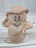 Vtg Anthropomorphic Potato Figurine Ceramic Bisque Woman Hat Handmade MCM Brown