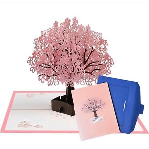 UNIQUE 3D Pop Up Greeting Cards Pink Maple Tree Mothers Day Card for Mom Wife