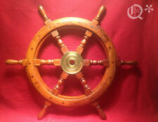 "NAUTICAL BRASS WOODEN SHIP STEERING WHEEL 25"" DECOR"