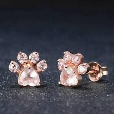 Women's Pink CZ Pet Cat Dog Paw Print Silver Gold Stud Pierced Earrings Jewelry