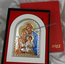Rare Stamped Sterling Silver And Gold HOLY FAMILY Icon  Catholic Genuine Prince