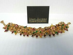 JOAN RIVERS Goldtone Crasp Bracelet with Multi-color Crystals ~ NEW + Free Gift