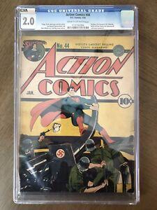 Action Comics #44 CGC 2.0 Superman. Classic Nazi War Cover. Read Desc!!