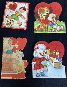 4 vintage valentine day children Greeting cards dog theme poodle boy Antique