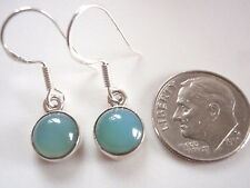 Round Chalcedony 925 Sterling Silver Dangle Earrings Corona Sun Jewelry Small