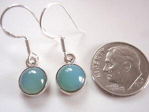 Round Chalcedony 925 Sterling Silver Dangle Earrings Corona Sun Jewelry Small