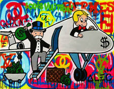 """Alec Monopoly oil Painting on Canvas graffiti art wall decor Airplane 28x36"""""""