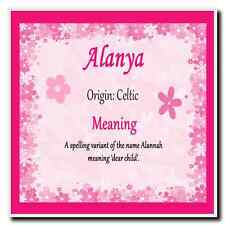 Alanya Personalised Name Meaning Coaster